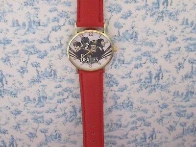 BEATLES WATCH with leather strap red