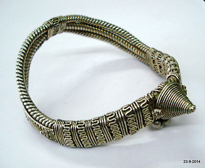 vintage antique ethnic tribal old silver armlet bracelet bajuband arm ornament