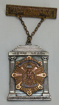 Vintage 1929 Scottish Rite Free Mason Supreme Council 33rd Medal Pin