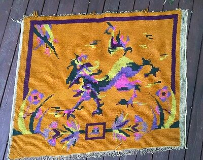 Vintage Needlepoint Wool Hooked Wall Pillow Art Craft Sewing Yellow Dragon