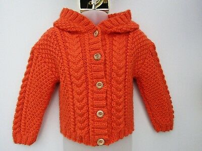 "Girls Hand Knit Chunky Aran Cardigan/Jacket/Hoodie Chest 24"" Approx 1-2 Years BN"
