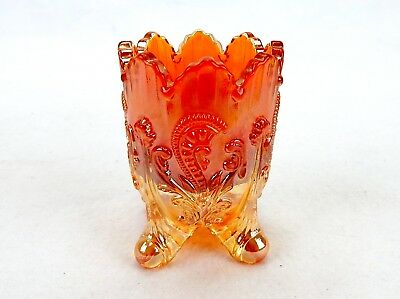 Carnival Glass Marigold Toothpick Holder, Fan & Feather Design, No Stamp #TP8-05