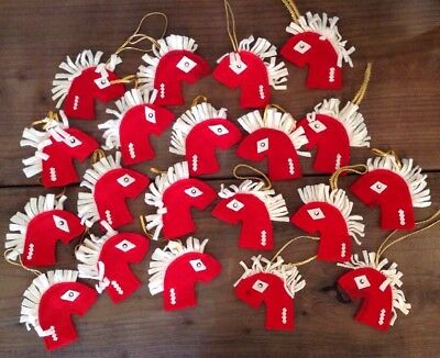 20 Vintage Christmas Decorated Felt Ornaments Handmade Horse Candy Cane Cover