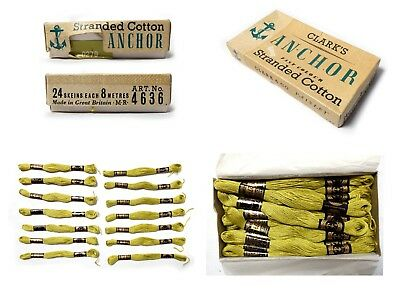 Vintage Boxed ANCHOR STRANDED COTTON 14 Skeins x 8 metres Paisley Clark & Co