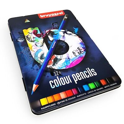Bruynzeel Colouring Pencils - 12 Assorted Colours in Metal Gift Tin - Blue Set