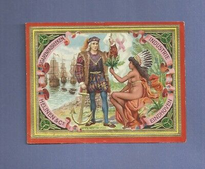 Lithographed CIGAR BOX LABEL HEIJNEN FACTORY COLUMBUS & NUDE INDIAN Netherland