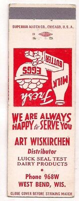 Art Wiskirchen Luick Seal Test Dairy Products West Bend WI Matchcover Washington