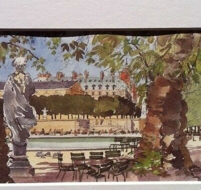 """Watercolor Print JARDIN TUILERIES Pierre Deux Country French """" Antique Style"""""""