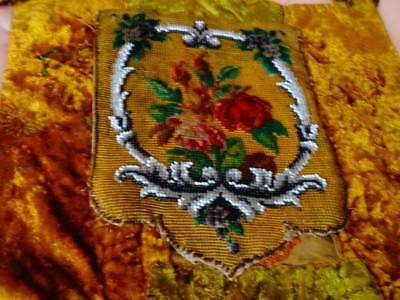 A Charming Antique Victorian Embroidered & Beaded Fire Screen Banner C1880