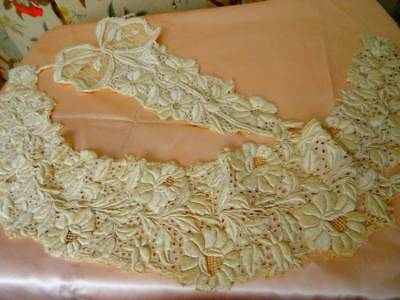 Two Stunning Early Victorian Hand Embroidered Silk On Muslin Garlands