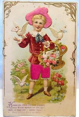 1907 Postcard Boy With Doves, Real Satin Hat & Pants