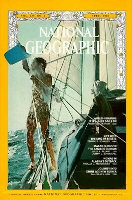 National Geographic Apr 1969 Stone Age Dove Voyage Macao Lions Alaska  N.guinea