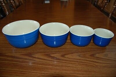 Vtg. OXFORD STONEWARE USA BLUE POTTERY MIXING BOWL SET/4 Midcentury Farmhouse