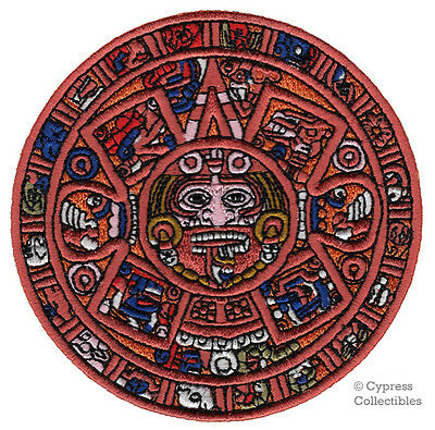 AZTEC CALENDAR PATCH embroidered iron-on SUN STONE PIEDRA DEL SOL MEXICAN MEXICO