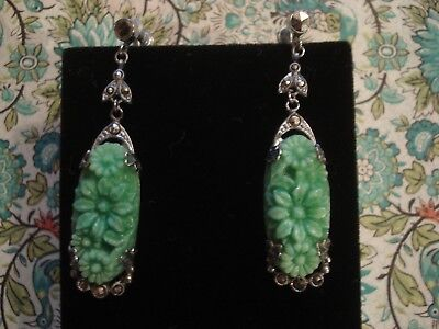 Beautiful Antique Art Deco; Carved Florals Simulated Jade & Marcasites Earrings