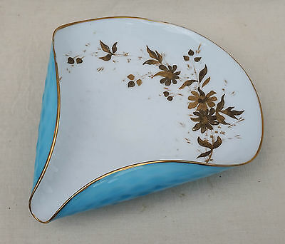 Vintage Blown Pressed Glass Letter Holder White Blue with Golden Foliage Europea
