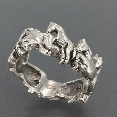 Sterling Silver Wild Horses Band Ring Equestrian Jewelry Size 6
