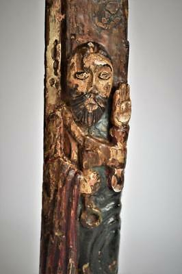 VERY RARE ANTIQUE MEDIEVAL POLYCHROME RELIGIOUS WOOD CARVING of ST PETER