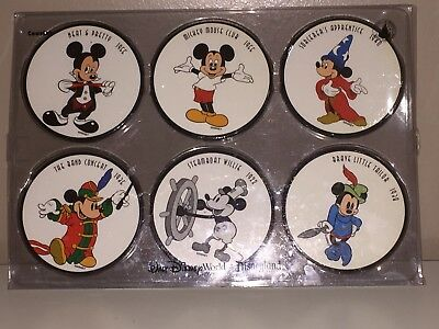 NEW IN BOX Walt Disney Parks Exclusive Mickey Mouse Drink Coasters 1938-55