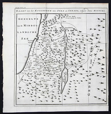 18. Jh. Israel Holy Land Heiliges Land Karte map Kupferstich antique print