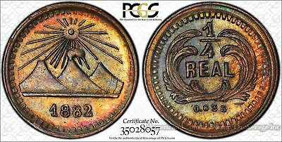 Guatemala 1/4 Real 1882 MS63 PCGS silver KM#151 Finest & Only RAINBOW