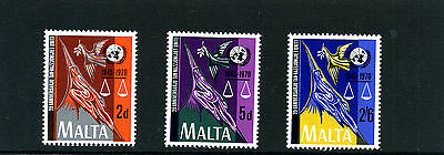 MALTA -1970 - 25th ANNIVERSARY of UNITED NATIONS- SET OF 3 - SG 441 to 443 - MNH