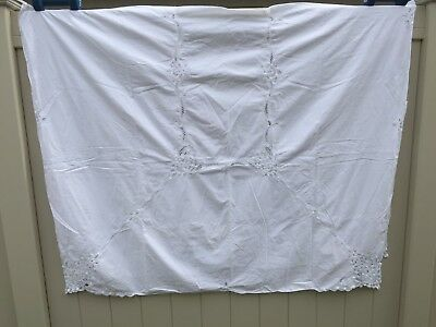 Vintage White Battenberg Lace Tablecloth 96 X 62 Inches 24445