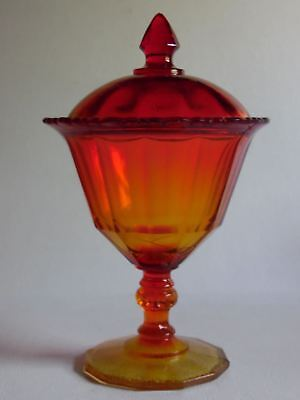 Vintage Amberina Glass Footed Pedestal Compote Candy Bowl With Lid