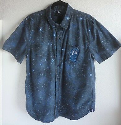Dr. Who Men's Large Short Sleeve Button Front Shirt Bbc Hot Topic Exclusive