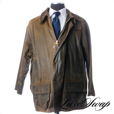 Barbour England Classic Moorland Waxed Cotton HIGH PATINA Fall Coat 48 NR PTOJT