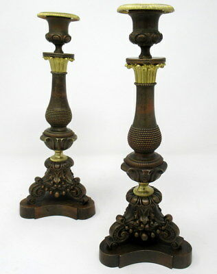 Pair French Regency Period Ormolu Bronze Candlesticks early 19th Ct SUPERB ITEM