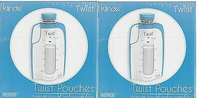 Kiinde Breast Milk Storage Twist Pouch Lot 6 oz - 2 Pack of 40 Universal Top