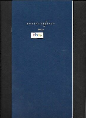 Continental Airlines Business First Menu Dublin-Newark 2001 Wines-Ports