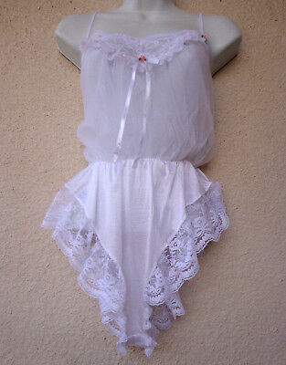 VTG TOSCA Babydoll TEDDY Double Nylon Chiffon Frilly Lace Sheer French Cut Legs