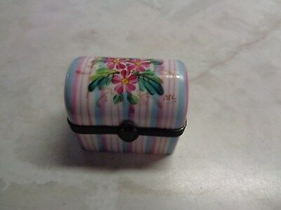 Limoges France Hand Painted Rochard Floral Trunk Pill Or Trinket Box
