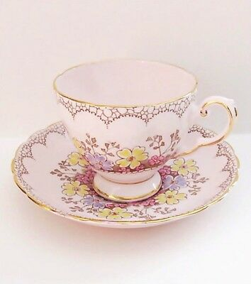 Pink,Blue,Yellow Wildflowers,Pink 'Plant' Tuscan China Footed Teacup Set VGC