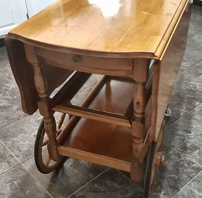 Vintage Wood Drop Leaf W/ Tray Rolling Service Tea Cart Side Table Bar.(pick up)
