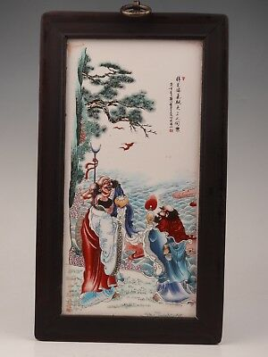 Valuable Black Wood Porcelain Plate Painting Decoration Old Immortals Old