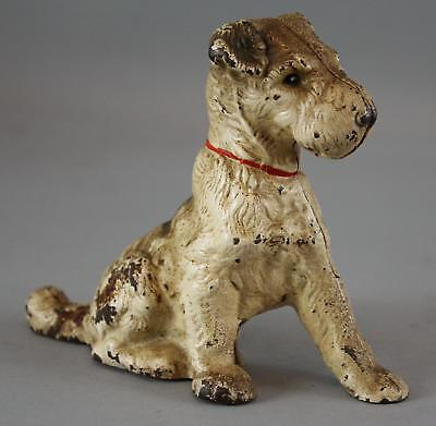 Antique 1930s Hubley Cast Iron Wirehaired Fox Terrier Dog Still Bank, NR!