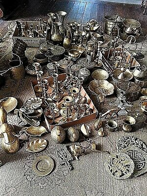 Lot Of 120+ Pieces Vintage Antique Estate Lifetime Collection Of Brass Pieces!