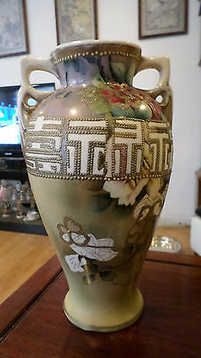 Rare Antique Nippon Royal Nishiki Floral and Gilt Moriage Vase Circa Early 1900