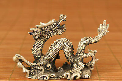 Rare Chinese Old Copper Handmade Carved Dragon Figure Statue Home Decoration