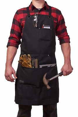 Heavy Duty Waxed Canvas Work Apron With Tool Pockets Water Resistant M to XXL