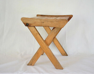 Vintage Wooden Fold Up Child Stool Plant Stand Wood Foldable