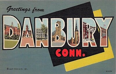 Danbury Connecticut CT Greetings From Buildings Large Letter Linen Postcard
