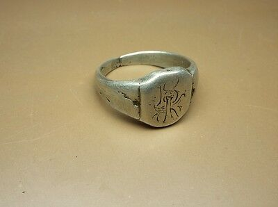 "Nice Old Antique Silver Post- Medieval Ring with Engraved ""BK"" 21mm/ US-12 #2801"