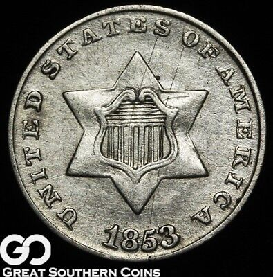 1853 Three Cent Silver Piece, Tough Early Silver Type