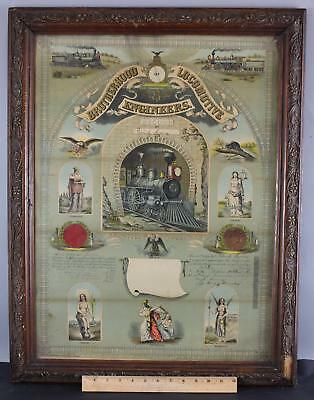 Antique 19thC Brotherhood Locomotive Engineers Railroad Train Lithograph Print