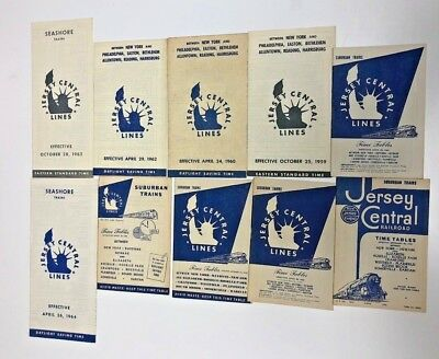 (10) Jersey Central Railroad Timetable Collection