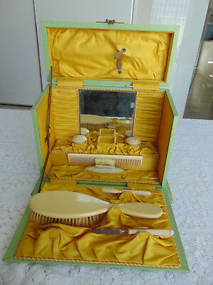 Antique Victorian Celluloid & Wood Vanity Box ~ Includes Contents